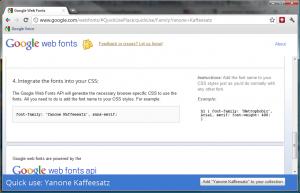 Google Web fonts - CSS integration